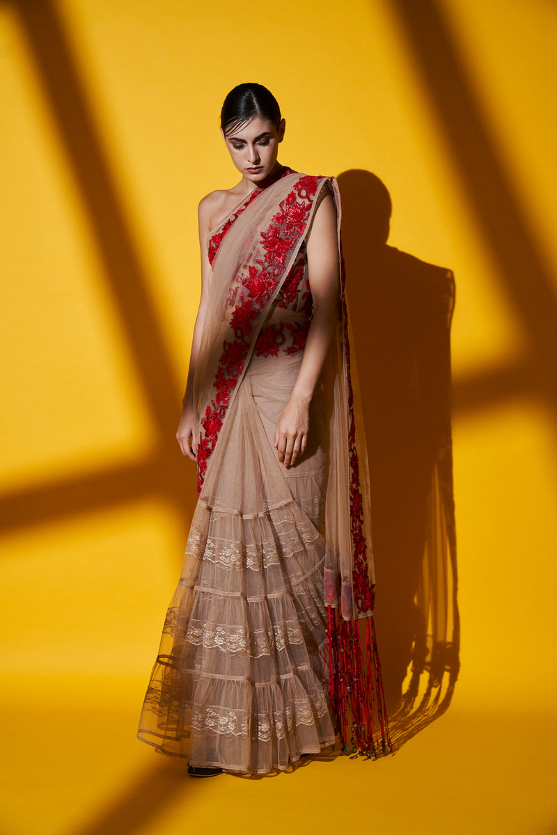 Blush Pink Pleated Saree & Corset Blouse With Red Raffia Embroidery
