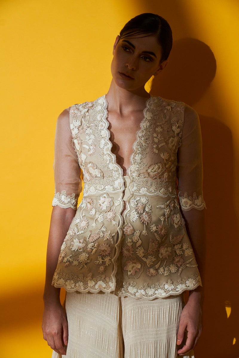 Ivory Embroidered Front Open Jacket Top & Crush Sharara