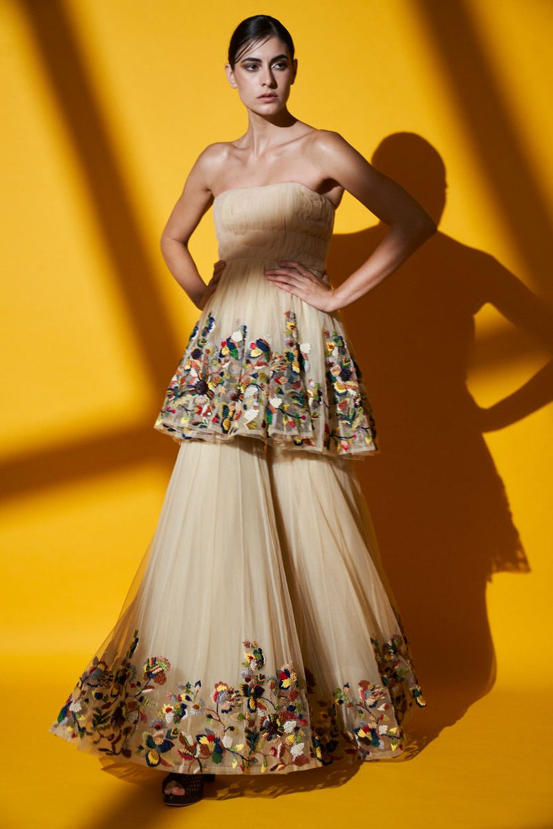 IVORY MULTICOLOUR RAFFIA EMBROIDERED PLEATED TUBE TOP, PLEATED SHARARA & BAADLA EMBELLISHED DUPATTA
