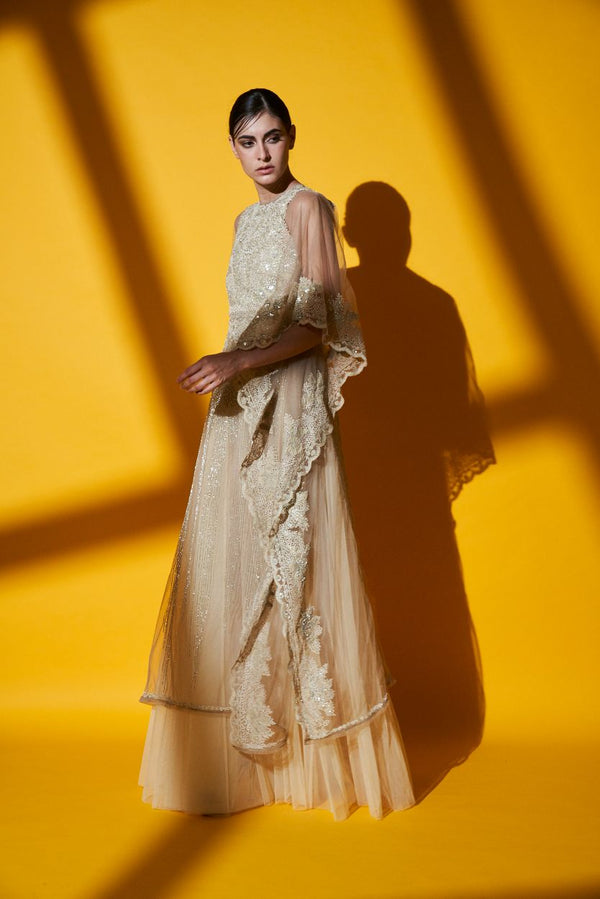 Ivory Hand Embroidered Kaftan, Pleated Gown & Belt