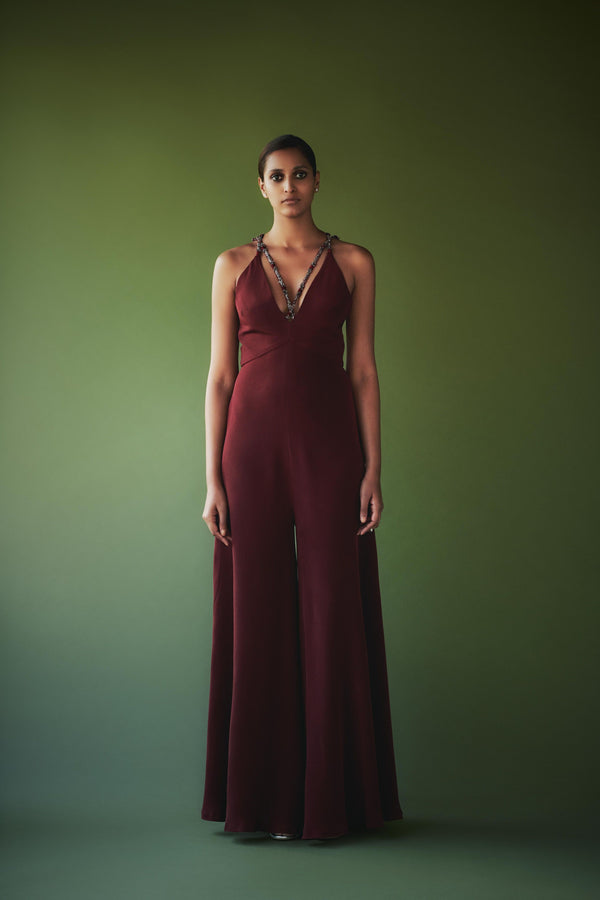 Beetroot Pewter Hand Embellished Jumpsuit