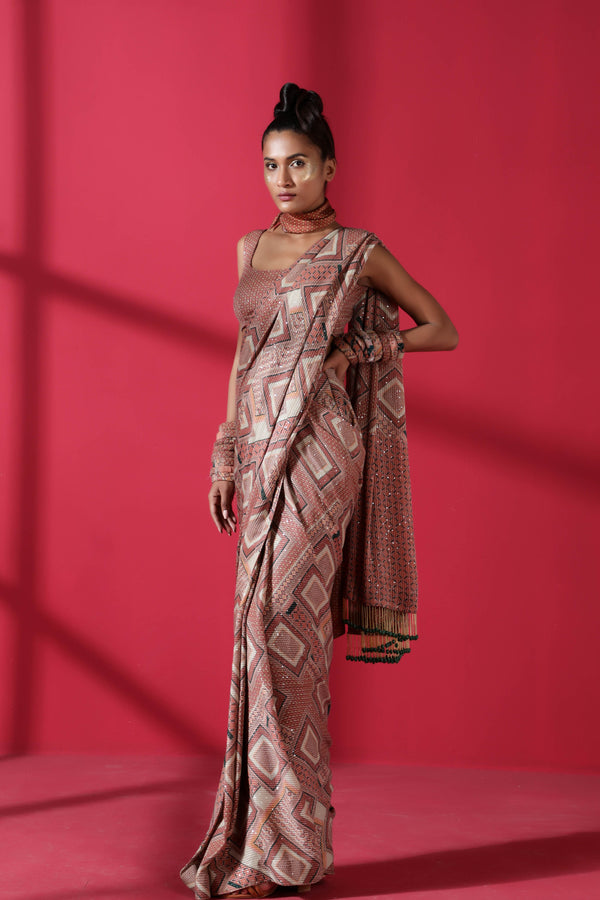 Terracotta Tile Print Two Piece Prepleated Saree With Georgette Sheeted Blouse