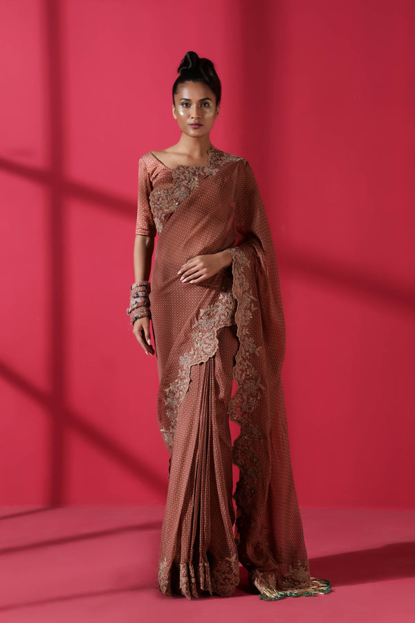 Terracotta Tile Print Two Piece Prepleated Saree With Organic Cotton Satin Blouse
