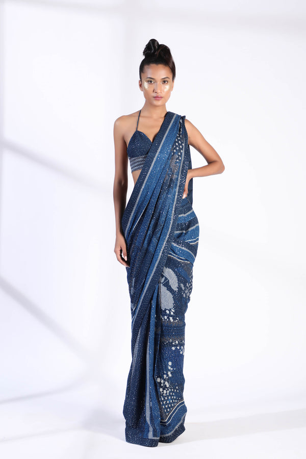Indigo Blue Floral Two Piece PrePleated Saree With Sheeted Georgette Blouse