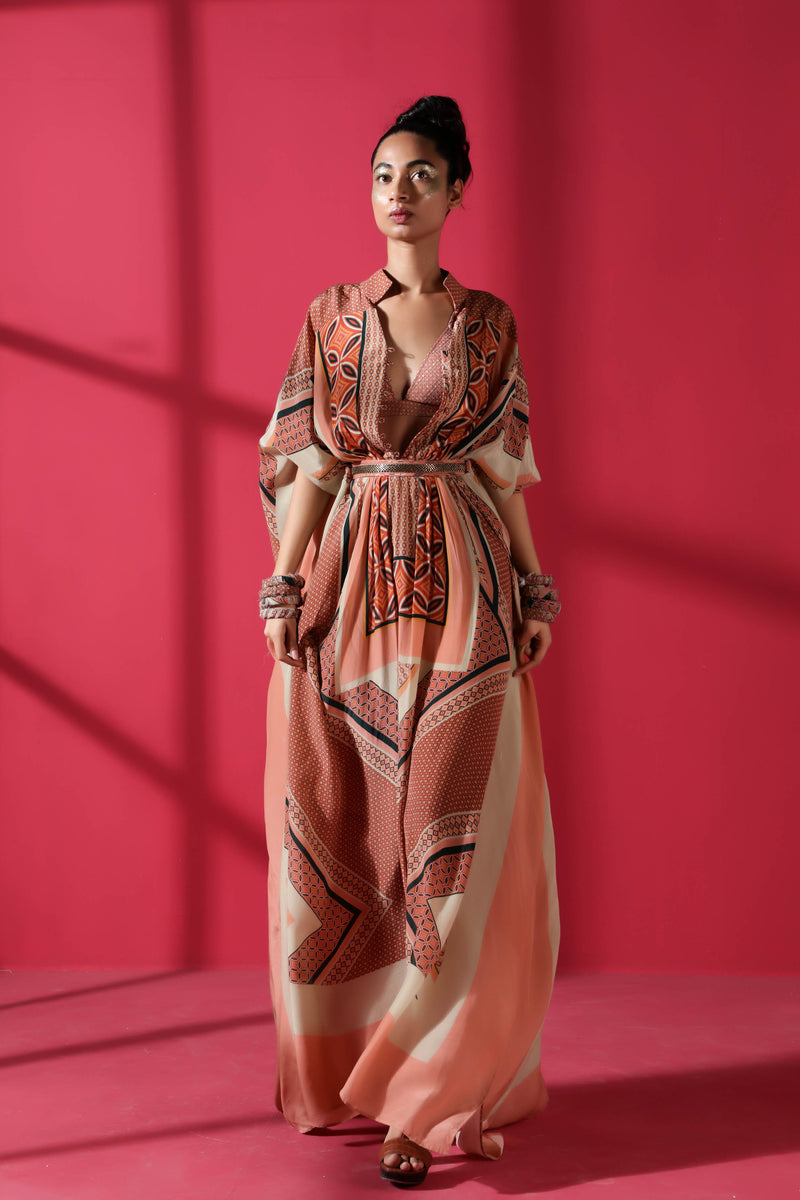 Terracotta Tile Print Kaftan With Vintage Pewter Handwork Belt