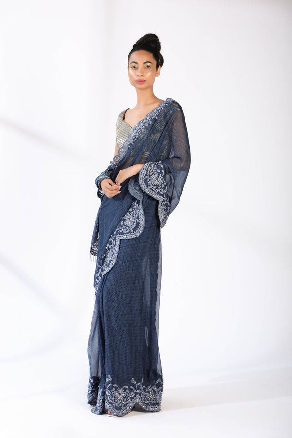 Indigo Blue Quatrefoil Silk Organza Hand Embroidered Two Piece PrePleated Saree With Glasspipe Blouse