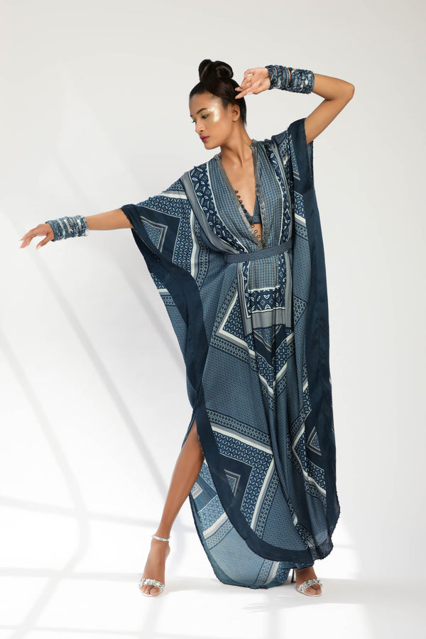 Indigo Blue Tile Print Kaftan With Bralette And Belt