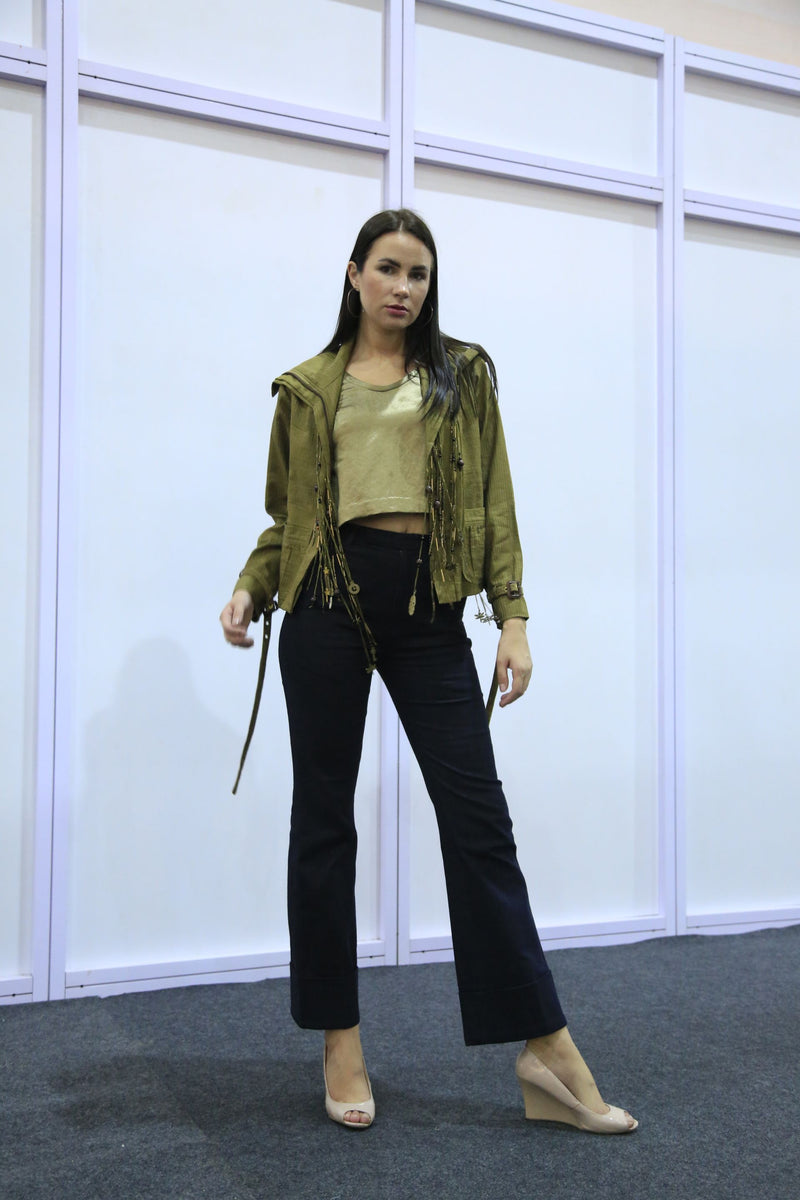 Olive Green Bomber Jacket With Sleeveless Blouse