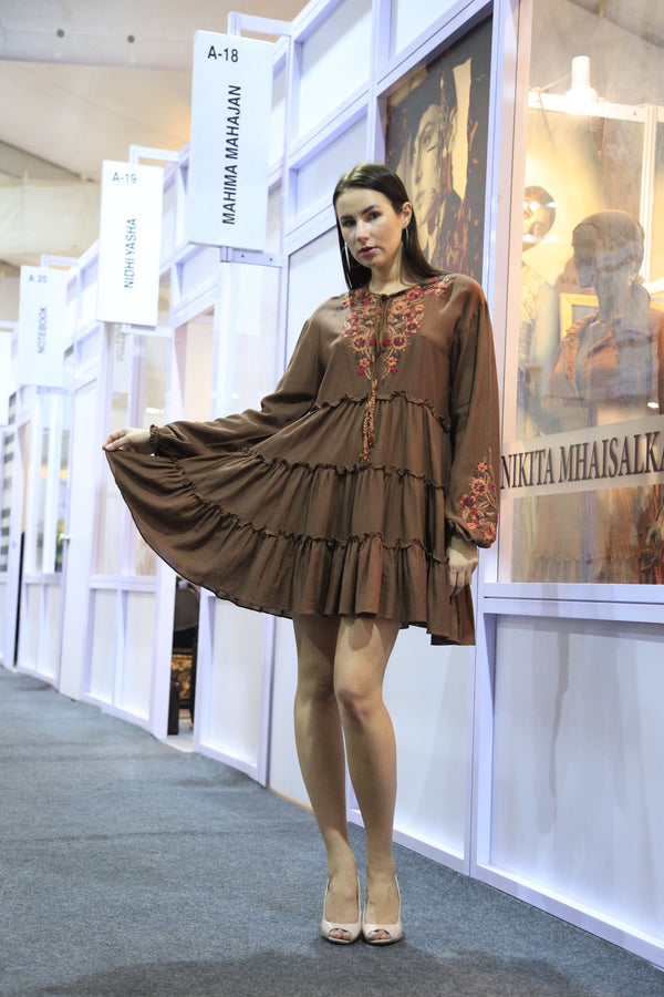 Brown Hand Embroidered Tiered Dress