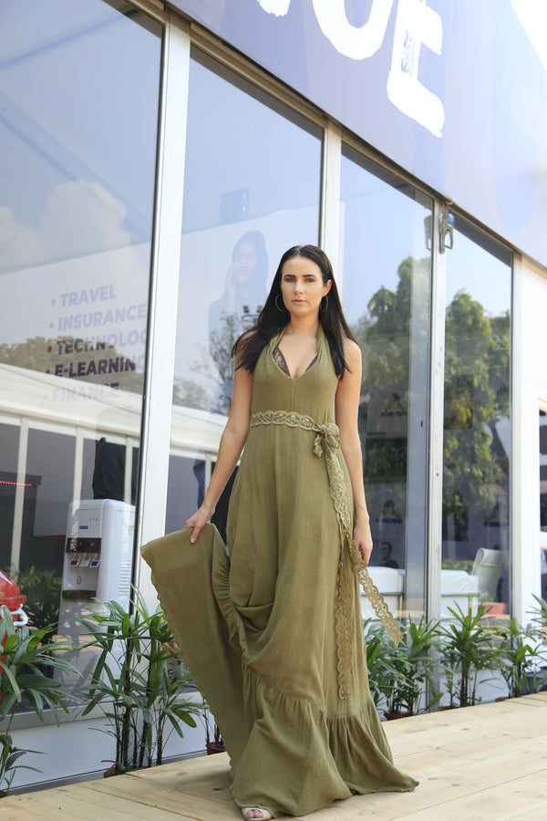 Olive Green Sleeveless Maxi With Thread Embroidered Belt