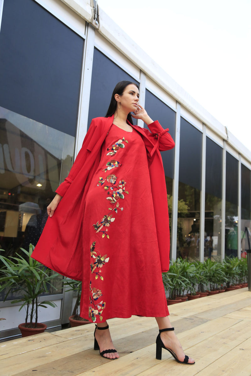 Red Multicolor Embroidered Dress & Trench Coat