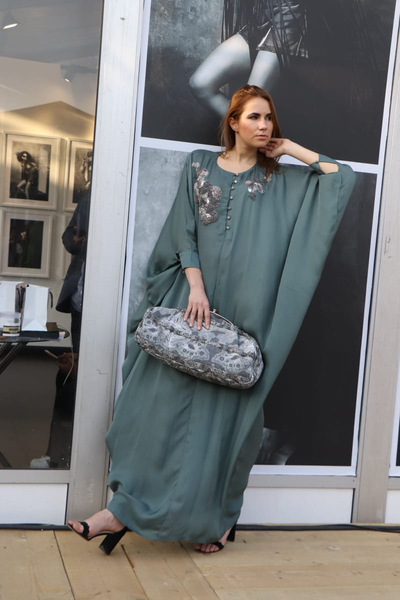 JADE GREEN MATTE KAFTAN WITH PEWTER HANDWORK