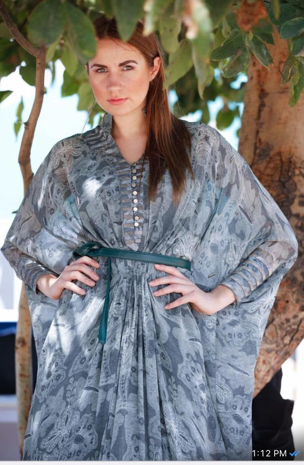 Rumi Print Pewter Hand Embellished Kaftan With Belt