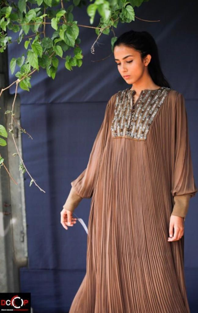 Dark Tan Hand Pleated Maxi Dress With Pewter Embellishment