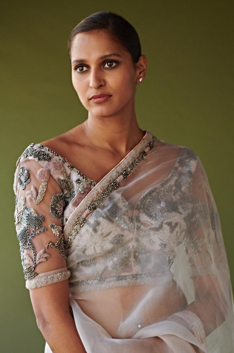 BLUSH PINK OMBRE SAREE & PEWTER HAND EMBELLISHED BLOUSE