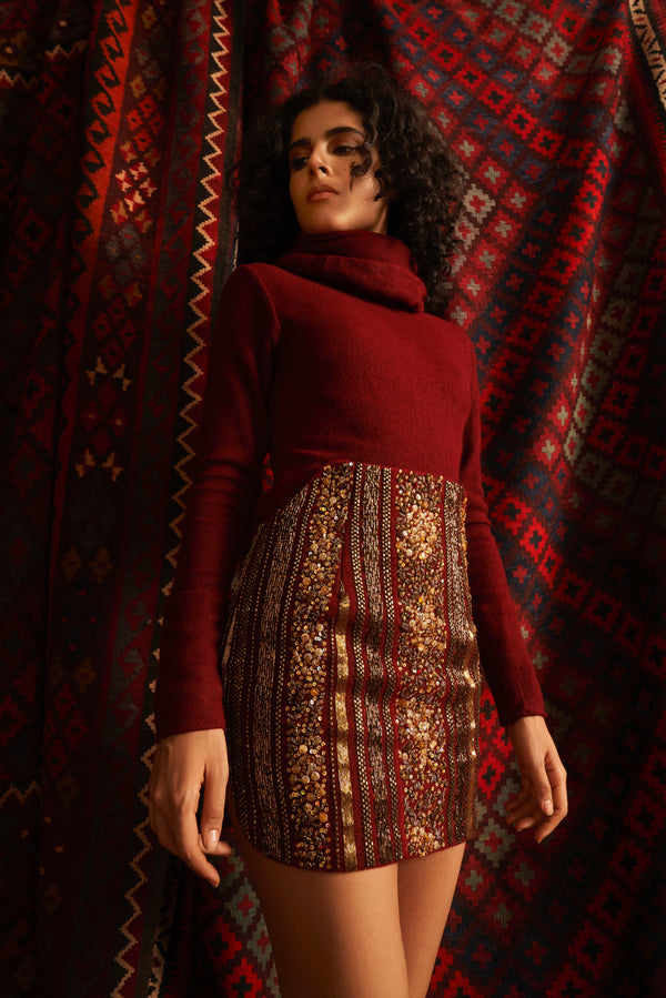 Oxblood Baroque Short Skirt
