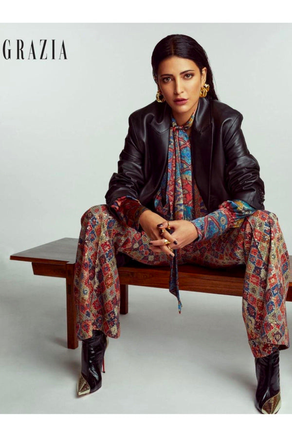 Shruti Haasan in Carpet Print Pussy Bow Shirt And Brick Print Sequin Pants