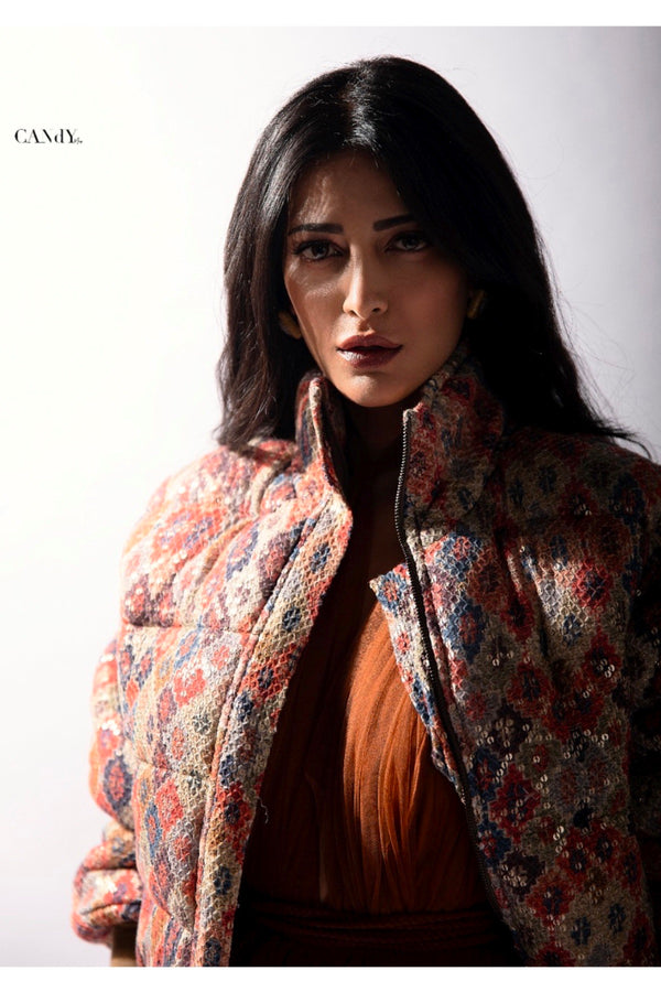 Shruti Haasan In Brick Print Sheeted Puffer Jacket
