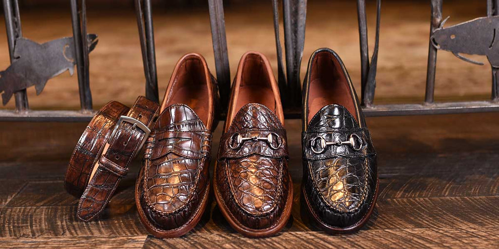 Jacob Genuine Wild American Alligator Shoe, Belt, and Wallet Collection