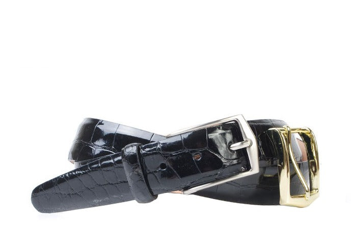 Julian 2 Buckle Authentic Alligator Belt - Black