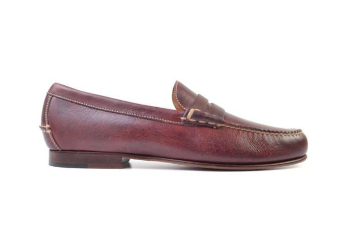 Old Row Oiled Saddle Leather Penny Loafer - Oxblood