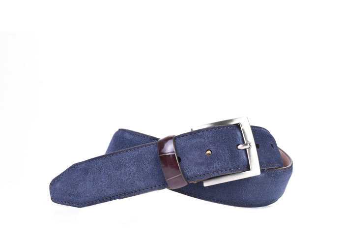 Safari Genuine African Kudu Suede Belt - Navy