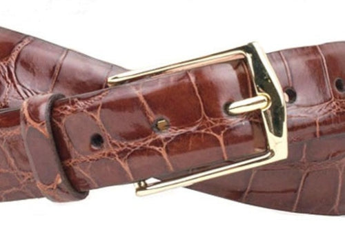 Julian 2 Buckle Authentic Alligator Belt - Chestnut
