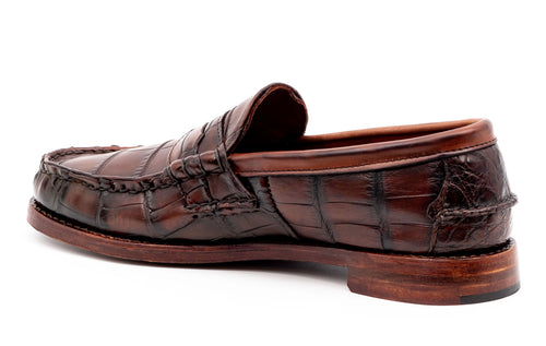 Jacob Genuine American Alligator Penny Loafer - Antique Chestnut