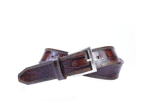 Chancey Alligator Grain Italian Calf Leather Belt - Brown
