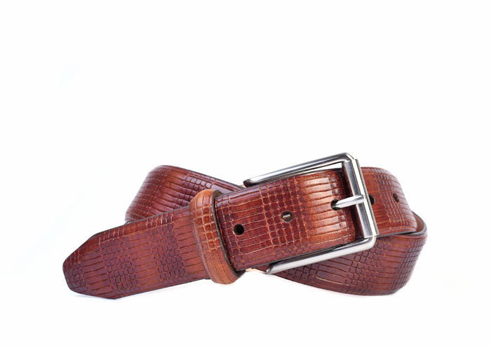 Devereux Mini Plaid Vintage Italian Saddle Leather Belt - Chestnut
