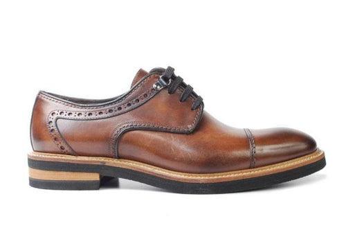 Tuscan Hand-Stained Italian Calf Leather Cap Toe - Whiskey