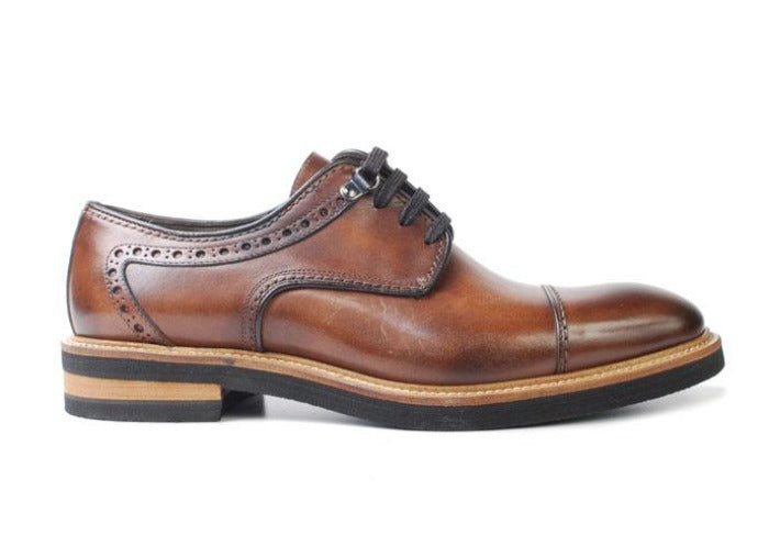 Tuscan Hand Stained Italian Calf Leather Cap Toe - Whiskey