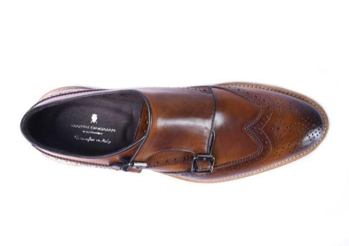 Tuscan Hand Stained Italian Calf Leather Double Monk - Whiskey