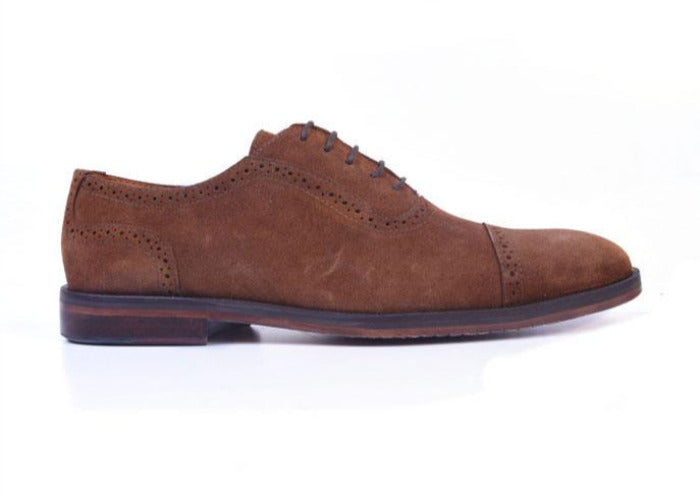 Charleston Water Repellent Suede Cap Toe Oxford - Snuff