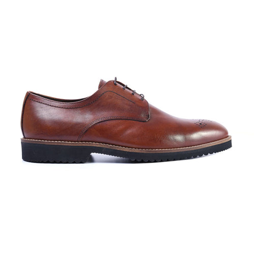 Liverpool Saddle Leather Plain Toe Blucher - Whiskey