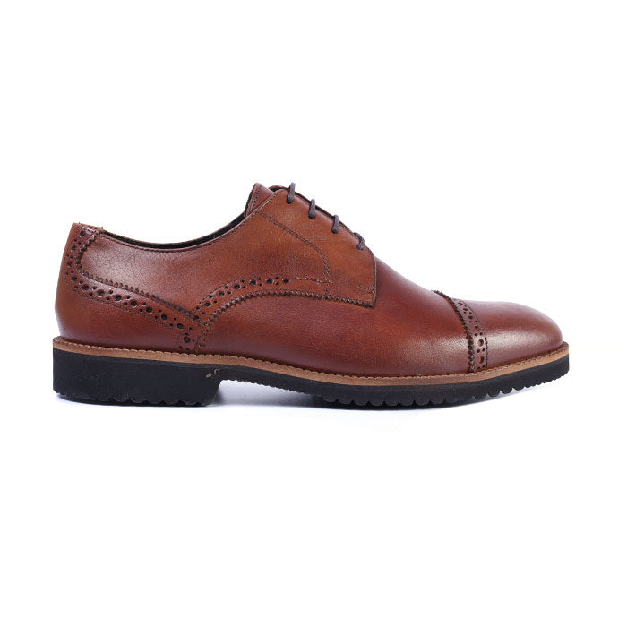 Liverpool Saddle Leather Cap Toe Blucher - Whiskey