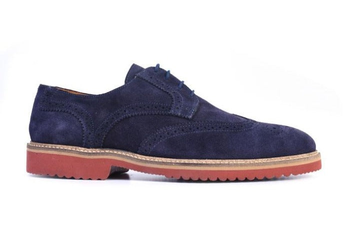 Liverpool Water Repellent Suede Wing Tip Blucher - Navy