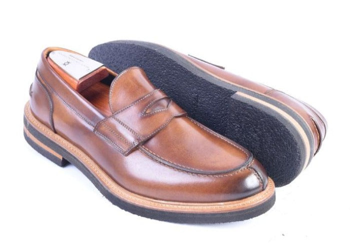 Tuscan Hand Stained Italian Saddle Leather Penny Loafer - Whiskey