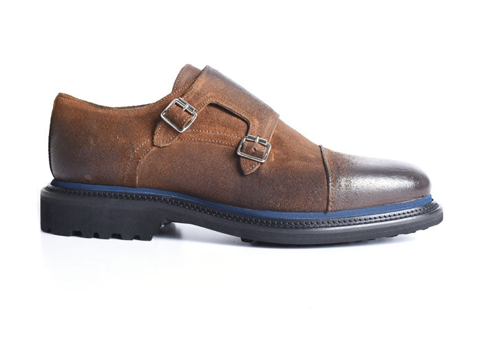 Campania Waxed Suede Double Monk - Nutmeg