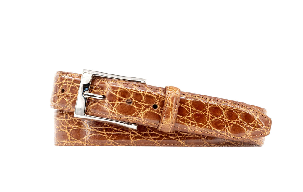 Wallace 2-Buckle Authentic Crocodile Leather Belt - Honey