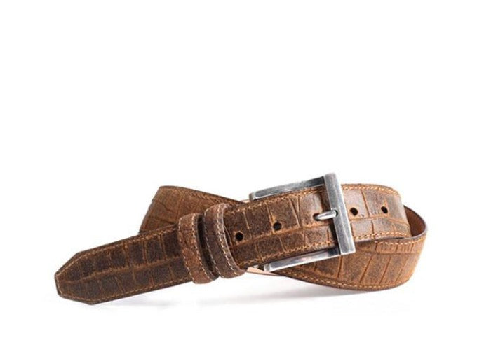 Bill Waxed Alligator Grain Water Repellent Suede Belt - Cedar