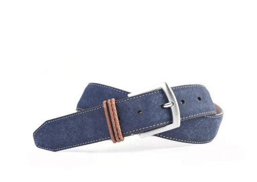 Bermuda Braid Denim Nubuck Leather Belt - Navy