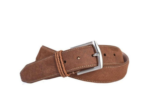 Bermuda Braid Denim Nubuck Leather Belt - Rust