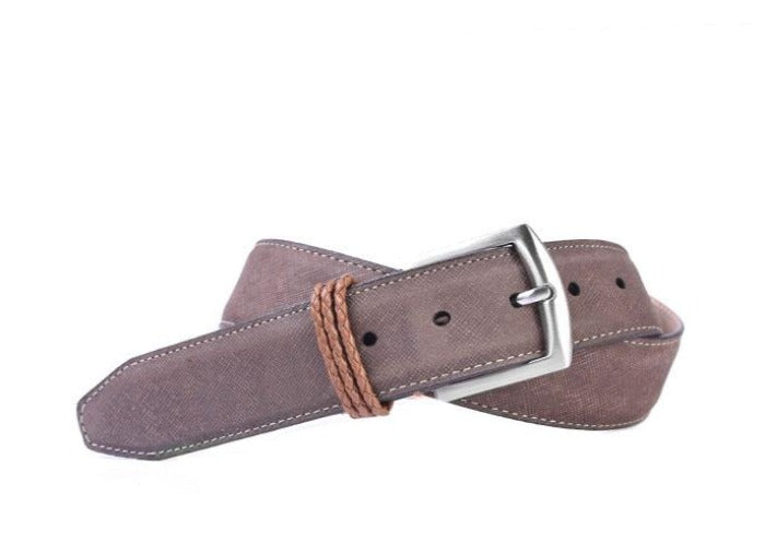 Bermuda Braid Denim Nubuck Leather Belt - Bark