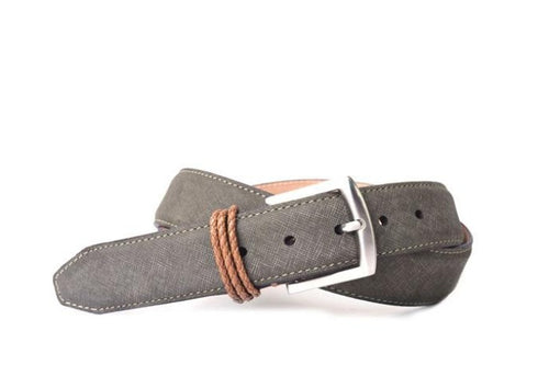 Bermuda Braid Denim Nubuck Leather Belt - Moss