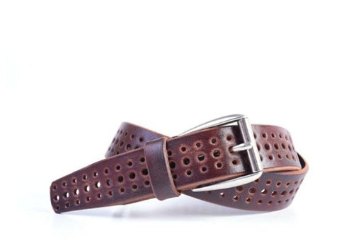 Artisan Perforated Italian Bridle Leather Belt - Chestnut