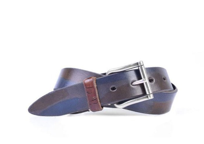 Artisan Italian Bridle Leather Belt - Camo Navy