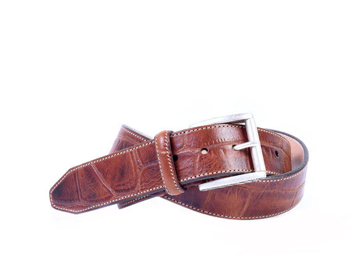 Thomas Giant Vintage Alligator Grain Italian Saddle Leather Belt - Chestnut