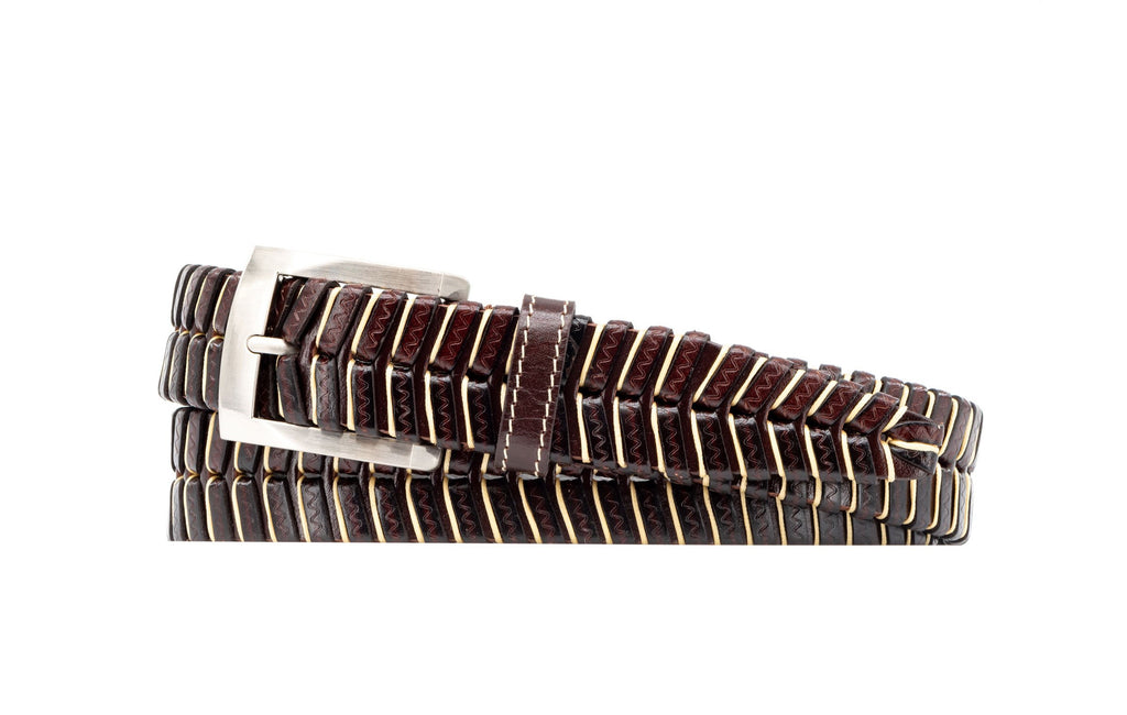 Landon Hand-Laced Saddle Leather Belt - Brown/Khaki