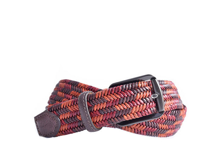 Lucas Braided Italian Saddle Leather Elastic Belt - Red Walnut